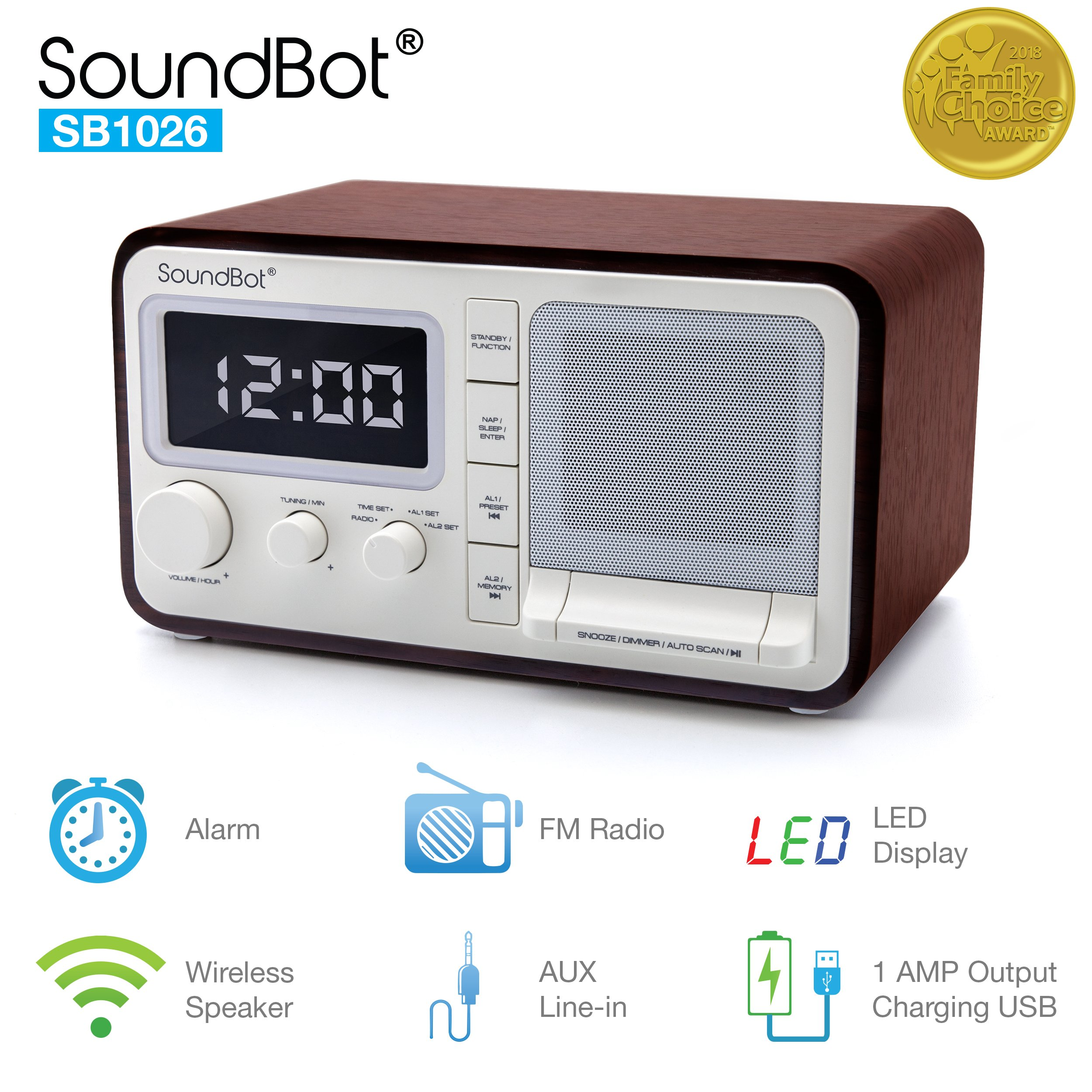 SoundBot Dual Alarm Clock FM Radio Bluetooth Wireless Portable Speaker 3W Output, 1A USB Charging Port, 30 Preset Station, 12/24 Hour Mode Acoustic Premium Driver Hi/Low Dimmer, 3.5mm Aux Port SB1026