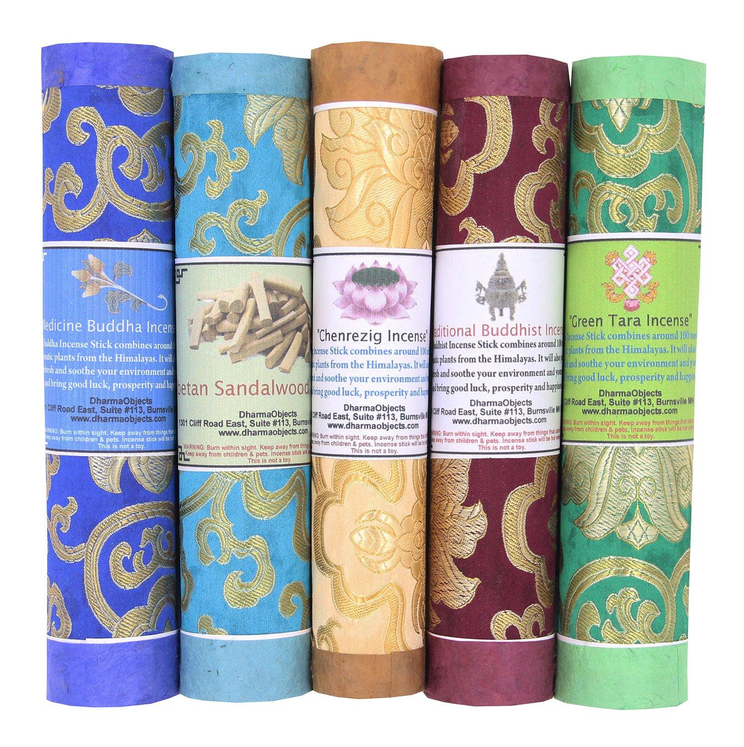DharmaObjects 5 Packs Variety Tibetan Spiritual and Medicinal Incense Sticks