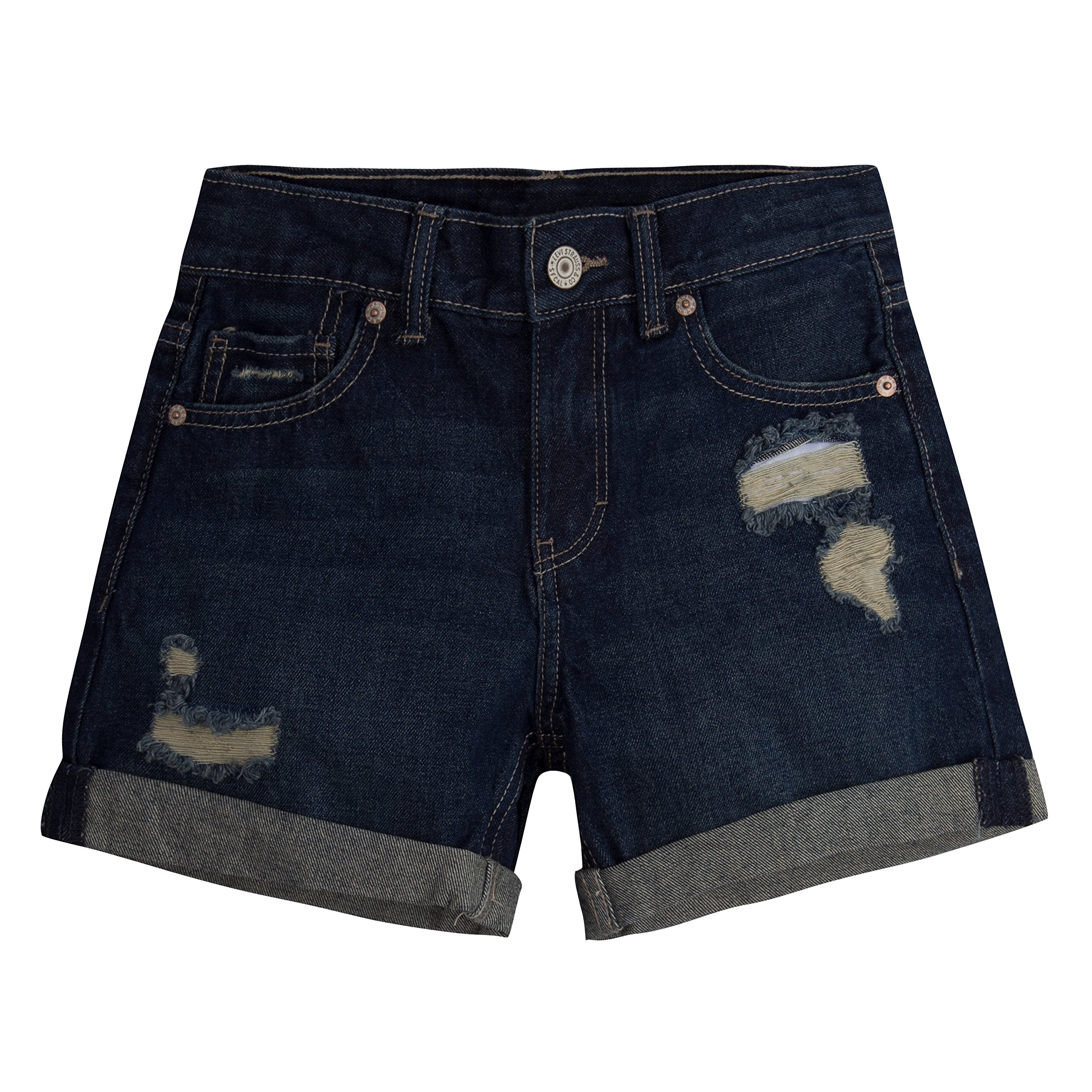 Levi's Girls' Big Girlfriend Fit Shorty Shorts, Ocean Side, 14