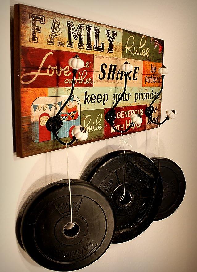 Hansmeier Perchero de Pared de Estilo Vintage Colgador Mural Retro de Madera con 3 Ganchos - para Abrigos, Chaquetas