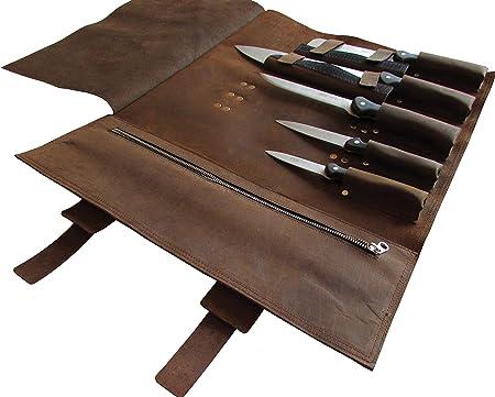 Amazon.com: piel cuchillo rollo bolsa y cuchillo de chef ...