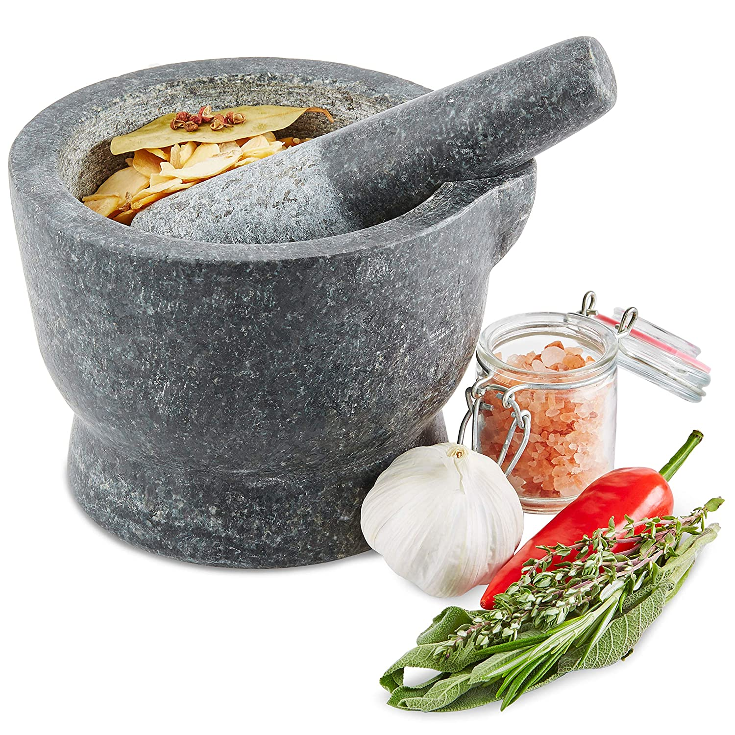 Andrew James Pestle and Mortar Set | Solid Granite Stone | Large 15cm Diameter Bowl with Easy Pour Lip 5060146062916