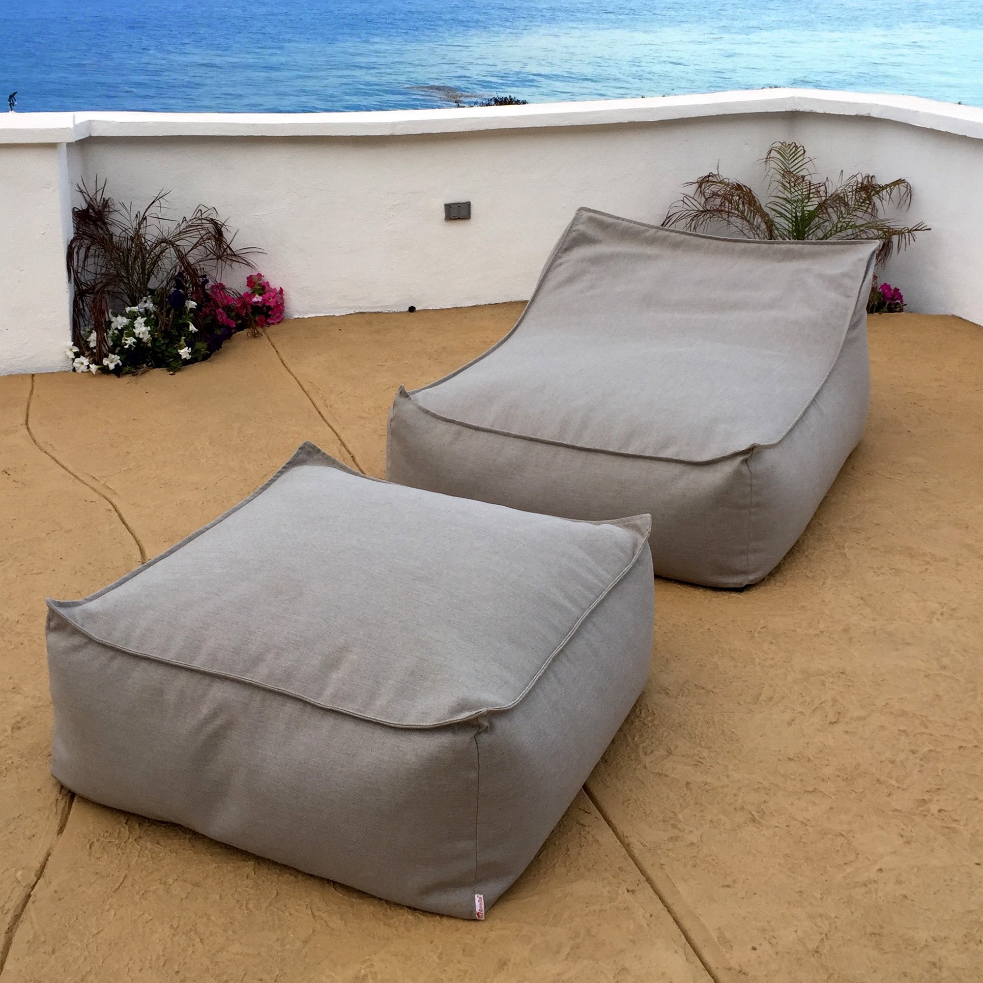 Core Covers Outdoor/Indoor Sunbrella Ottoman, 30'' x 30'' x 14'', Sailcloth Space by Core Covers (Image #2)