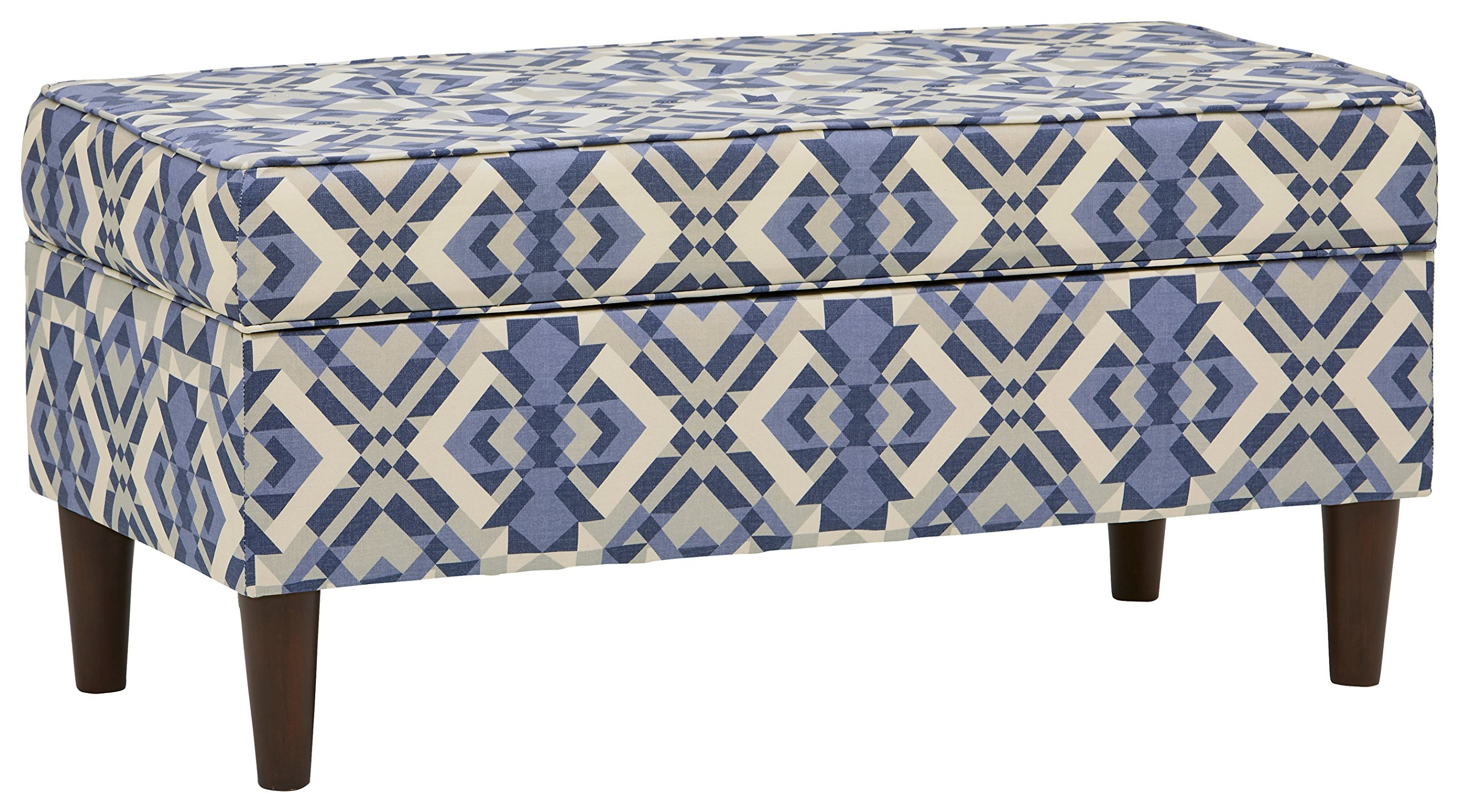 """Rivet Martin Modern Storage Bench, 39""""W, Scopic Blue - You're having friends over, but didn't have time to clean first. No problem - this storage ottoman is a great place to quickly stash clutter. In addition to its functionality, it's a stylish piece when closed. NOTE: This item is made-to-order, please expect an increased shipping time. 39"""" W x 19"""" D x 19"""" H - entryway-furniture-decor, entryway-laundry-room, benches - 91upK6BuZaL -"""