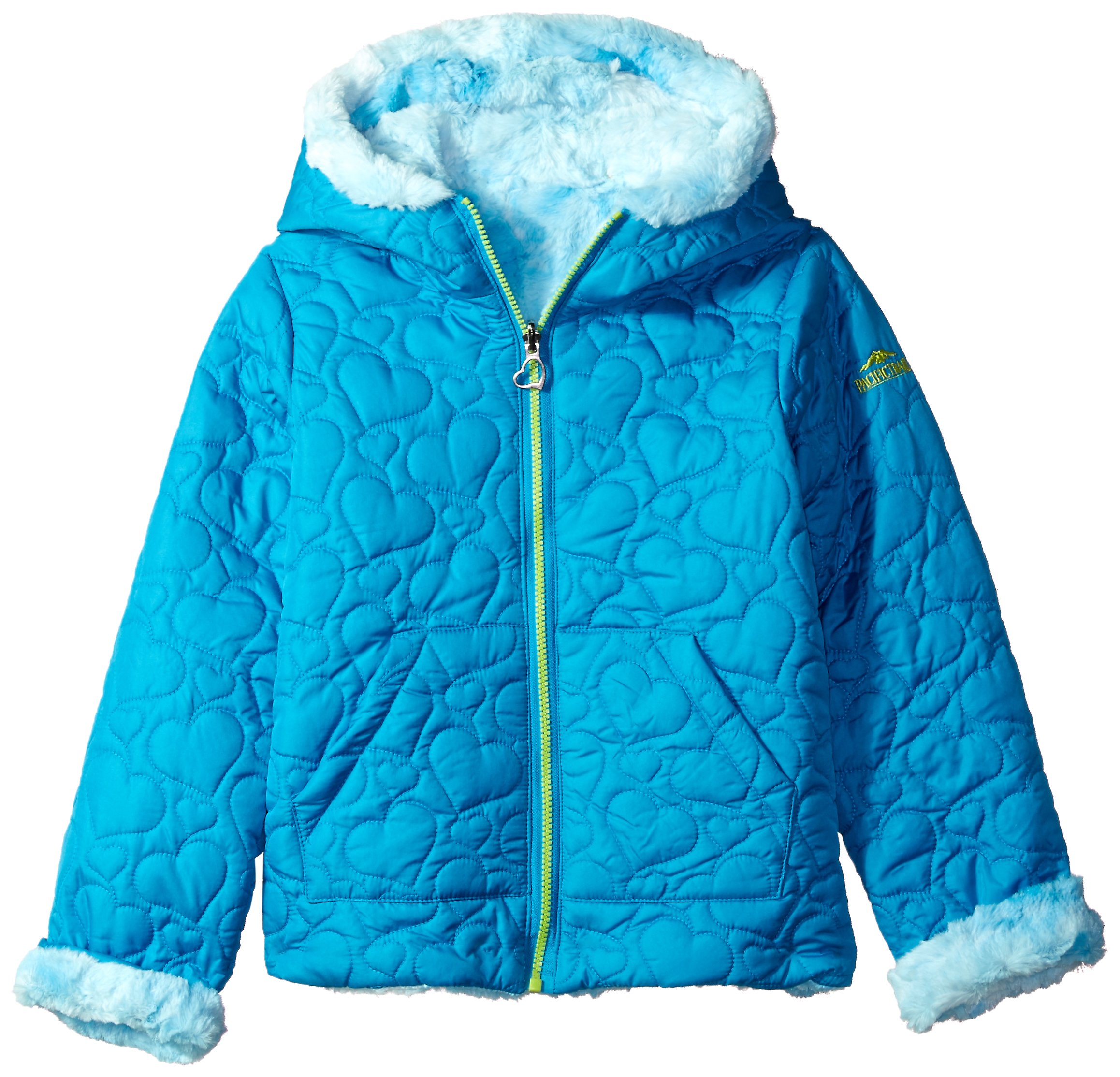 Pacific Trail Little Girls' Quilted Jacket Reversible to Tie-Dye Faux Fur, Turquoise, 4 by Pacific Trail
