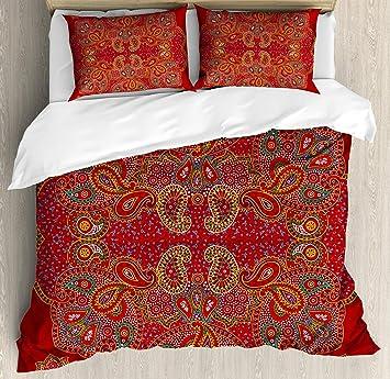 Rouge Mandala Housse De Couette Par Ambesonne Marocain Persan Motif