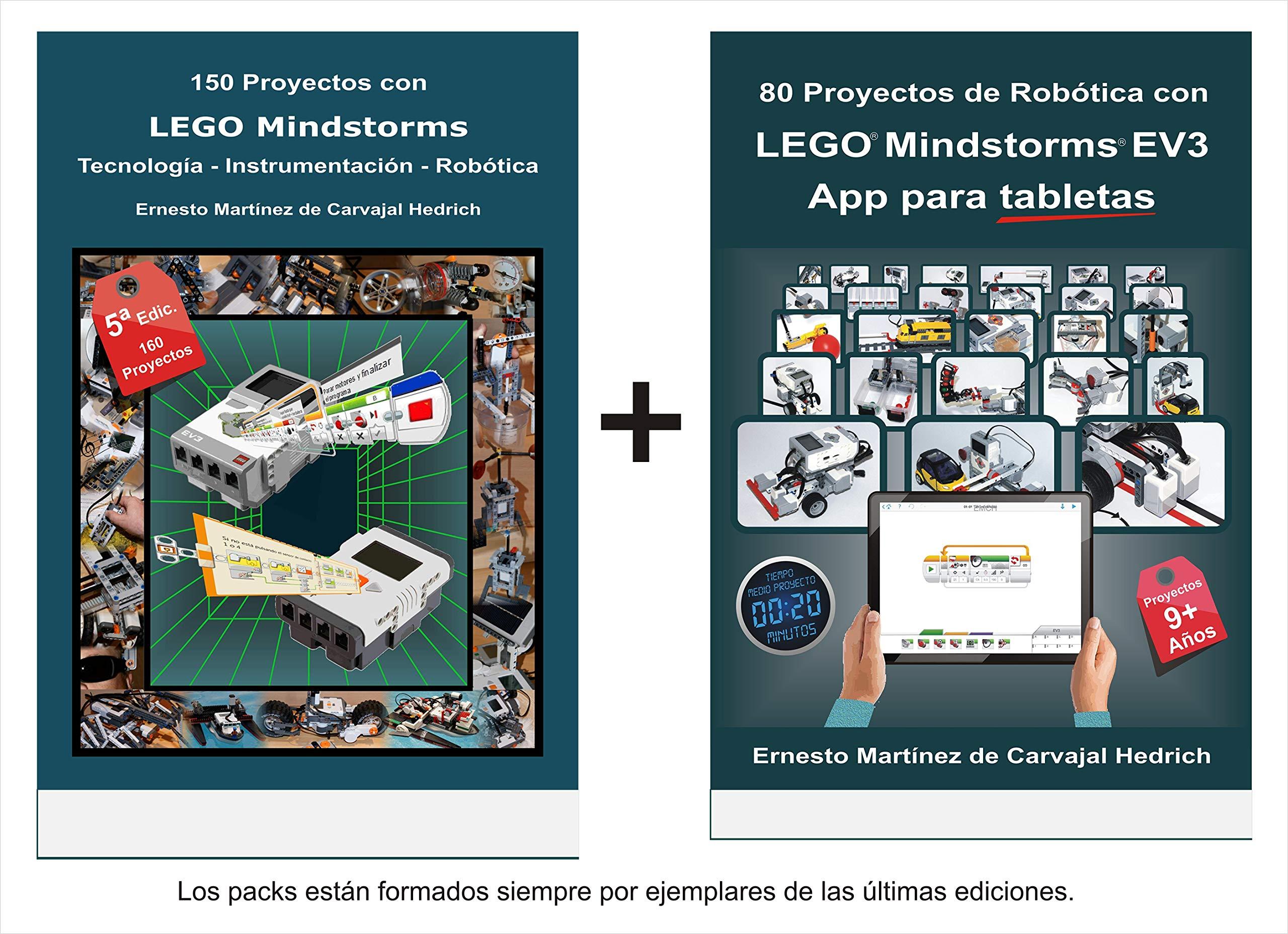 Pack 2 libros LEGO: 80 Proyectos de Robótica con LEGO MINDSTORMS EV3 App para tabletas + 150 Proyectos con LEGO Mindstorms: Amazon.es: Ernesto Martínez de Carvajal Hedrich: Libros
