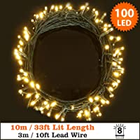 Fairy Lights 100 LED Warm White Indoor & Outdoor String Lights 8 Functions 10m/33ft Lit Length with 3m/10ft Lead Wire - Mains Operated LED Fairy Lights- GREEN CABLE - Indoor & Outdoor Use