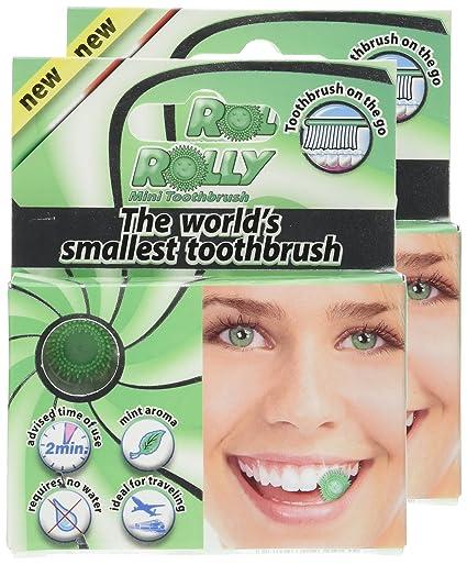 Rolly Cepillo de dientes de bolsillo, desechable, sabor menta, lote de 2