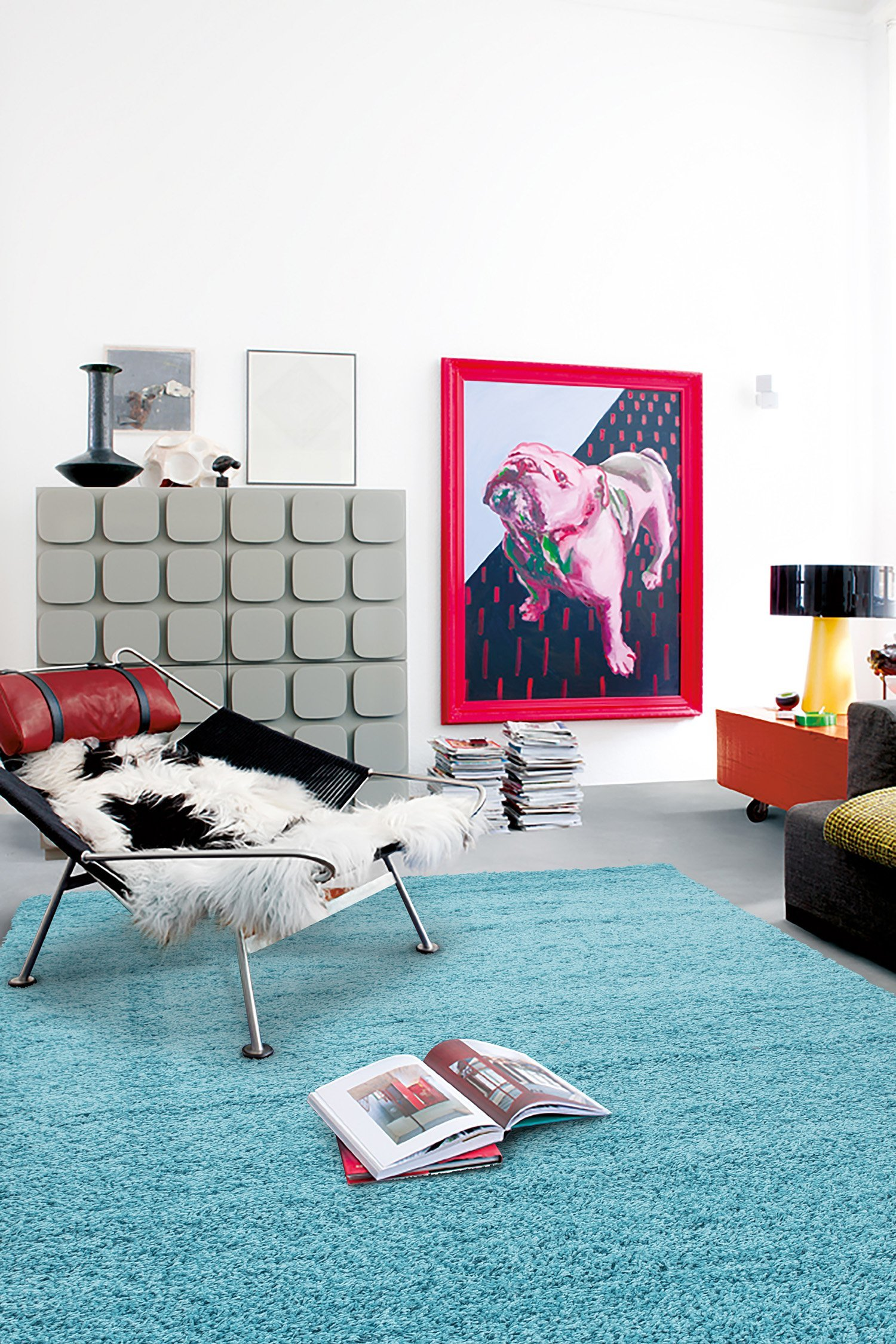 Sweet Home Stores Cozy Shag Collection Solid Shag Rug Contemporary Living & Bedroom Soft Shaggy Area Rug, 39'' L x 60'' W, Turquoise Blue
