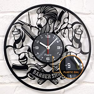 Barber Shop Clock Vinyl Record Barbering Hairdresser Barberia Hair Salon Vinyl Clock Decor Vintage Art Vinyl Wall Clock Decorations Handmade Decor Gifts - Barber Gift Idea - Barbershop Vinyl Clock