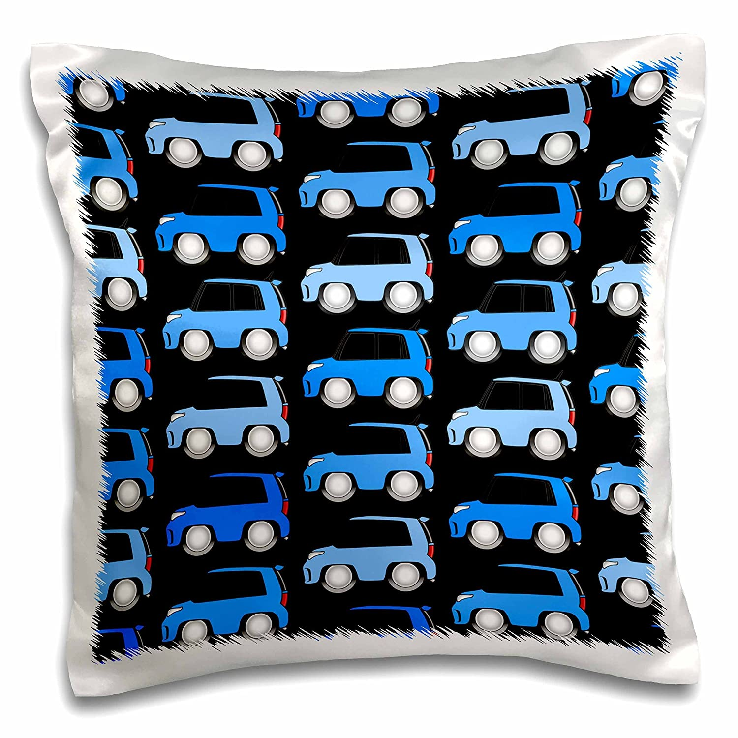 3drose Pc 81037 1 Voodoo Blue Xb Cartoon Car Pattern On A Black Background Pillow Case 16 By 16 Amazon In Home Kitchen