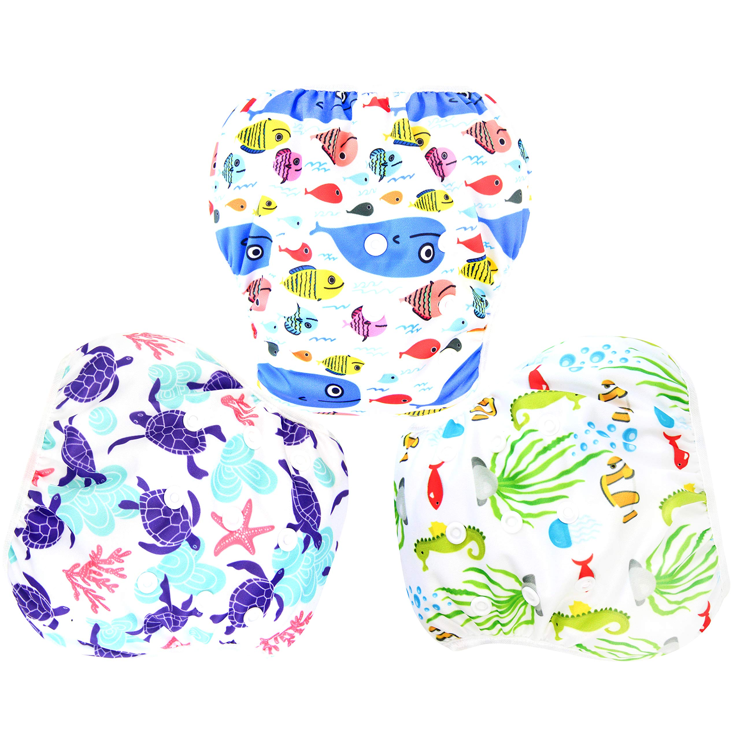 Langsprit 3 Pack Swim Diaper for Baby & Toddle,Reuseable Washable Diaper Swim for Swimming Lesson & Baby Shower Gifts (L, Underwater World) by Langsprit