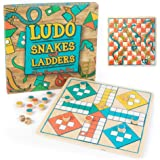Ludo + Snakes & Ladders Wooden Board Game 2-Pack - Two Game Set in One Bundle - Children's Family Pachisi Learning Dice…