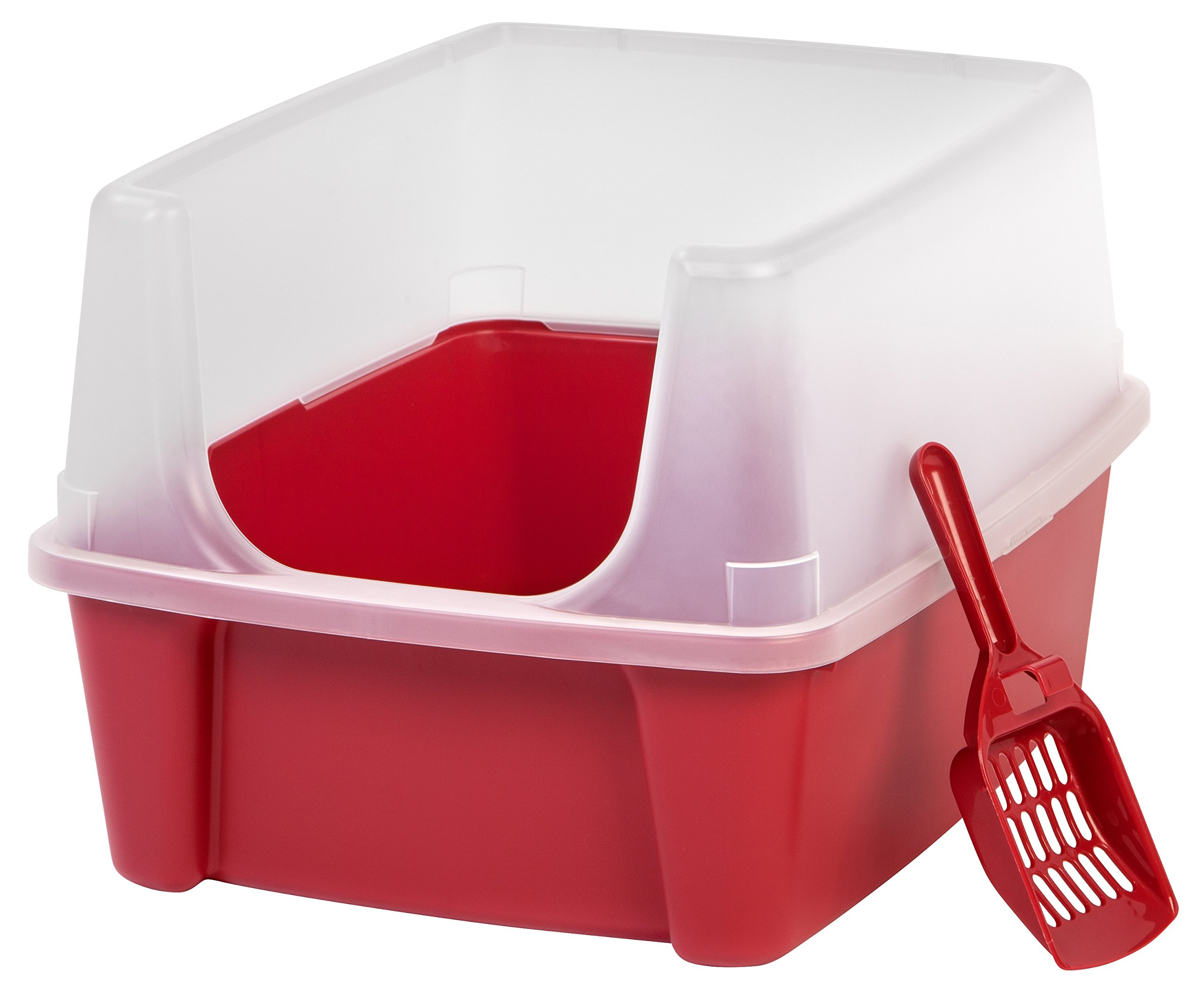 IRIS Open Top Cat Litter Box Kit with Shield and Scoop, Red