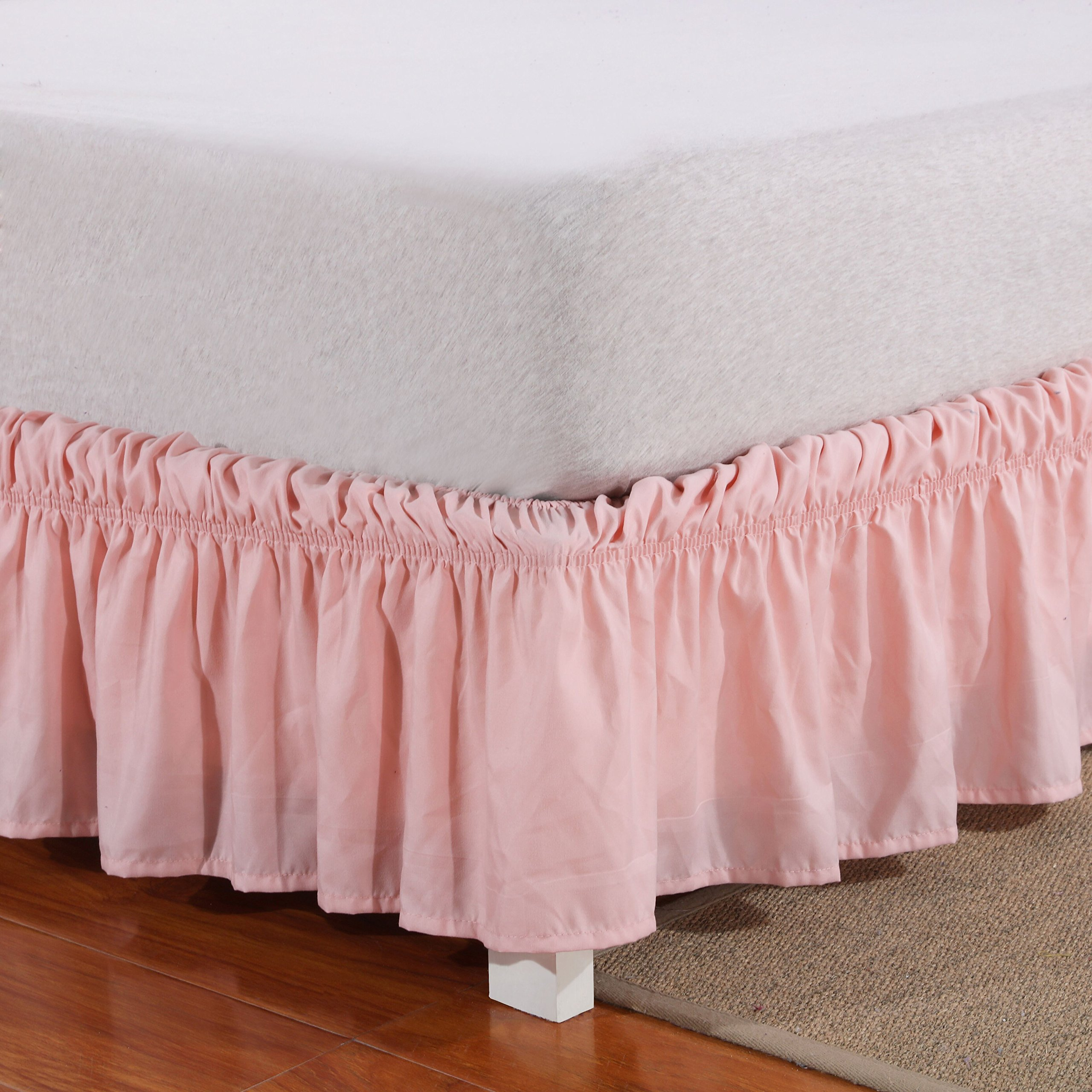 Wrap Around Bed Skirt Elastic Dust Ruffle Easy Fit Wrinkle and Fade Resistant Solid Color Queen, Pink