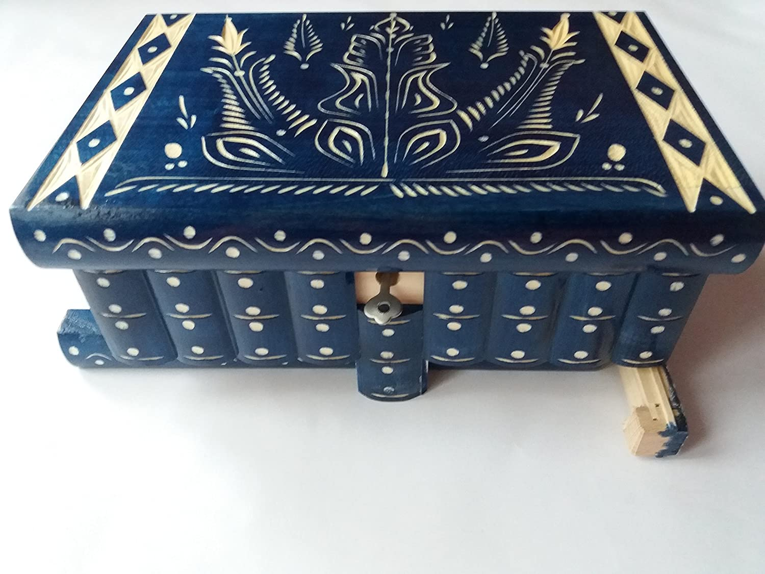 Huge puzzle box magic jewelry box premium treasure gift new very big box blue handmade mystery case carved wooden storage brain teaser