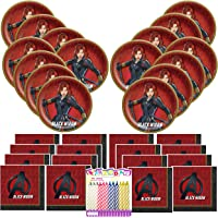 Black Widow Superhero Party Supplies Pack Serves 16: Dessert Plates and Luncheon Napkins with Birthday Candles (Bundle…