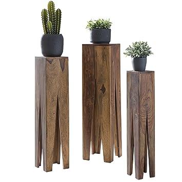 Gut WOHNLING Beistelltisch 3er Set Massivholz Sheesham Wohnzimmer Tisch Design  Söulen Landhausstil Couchtisch Quadratisch Holztisch Natur