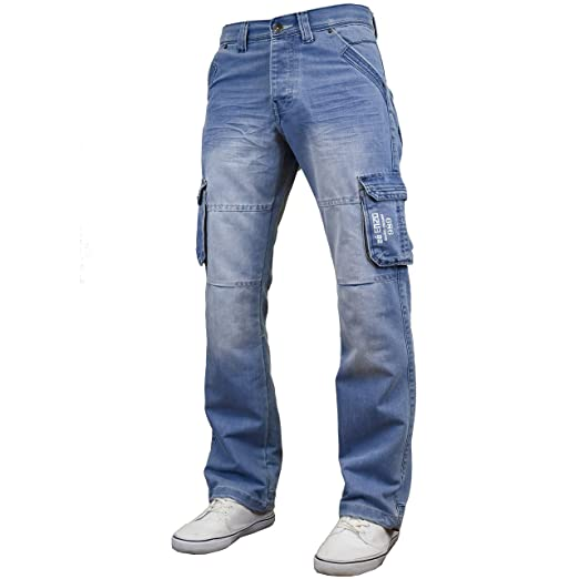 bade295b568ea Enzo Mens Multi Pocket Cargo Jeans
