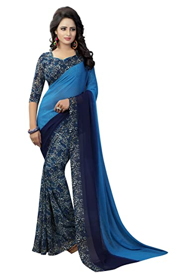 15ea1e4866f696 J B Fashion Women s with Blouse Piece Saree (H-saree for women-trump Blue Free  Size