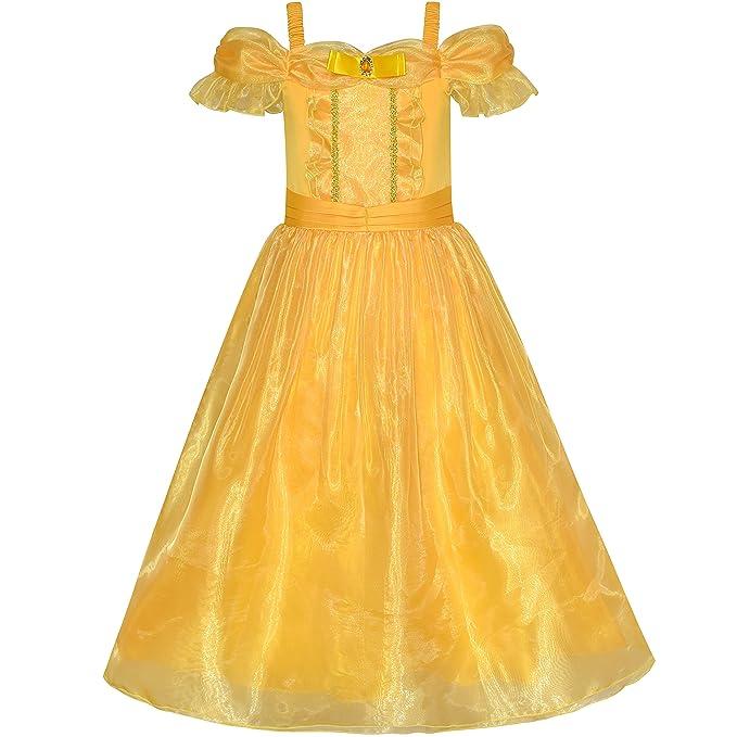 Sunny Fashion Vestido para niña Princesa Beldad Disfraz Arriba Amarillo 4 años