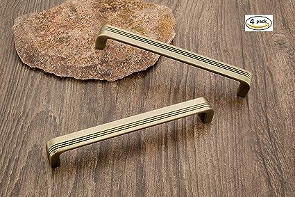 DEW-MAT Door Handles Cabinet Handles Brass Antique Finish 4 Piece Wardrobe Handles for Home Stylish PO831