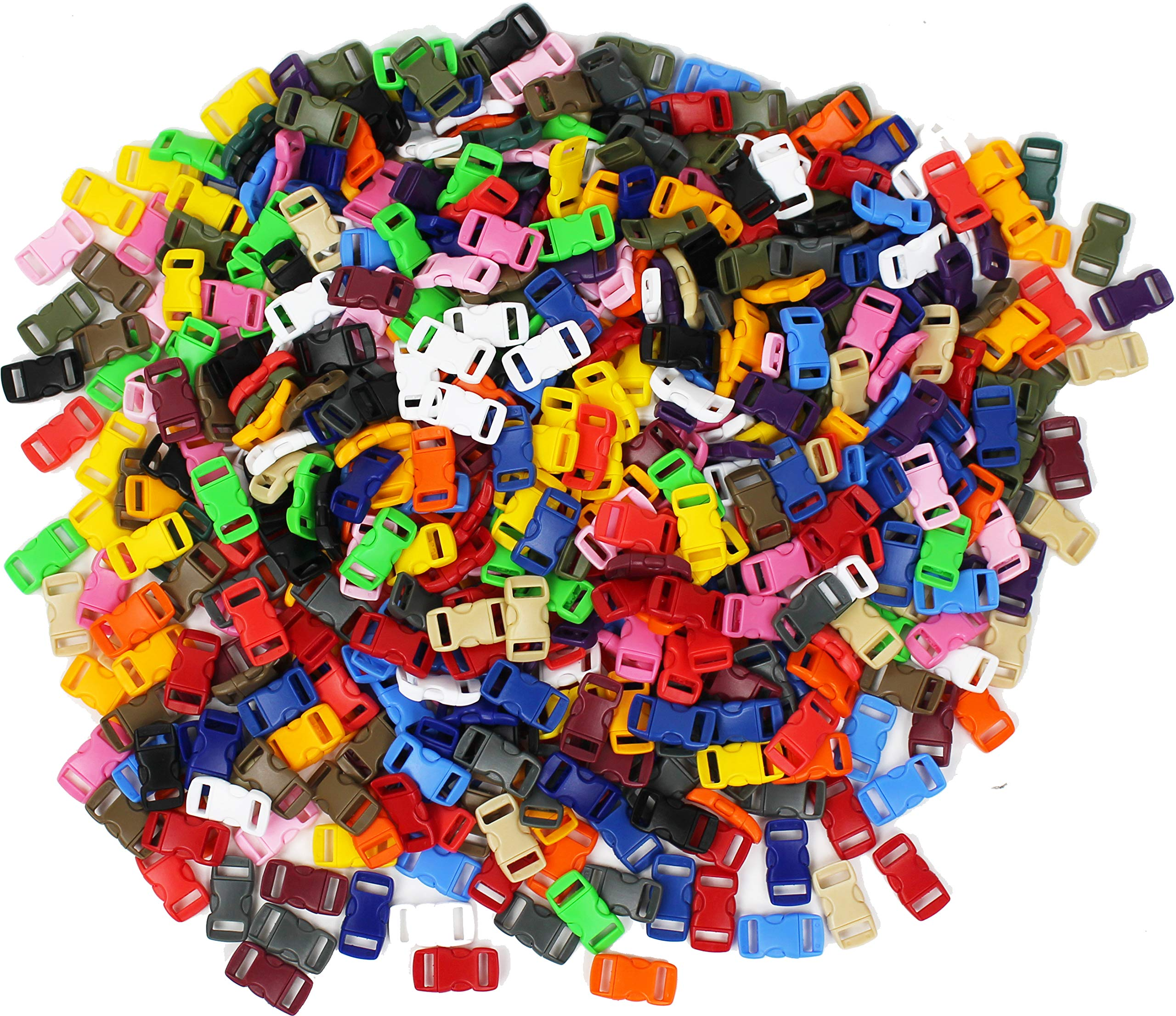3/8'' Contoured Side Release Buckles Wholesale Lot Curved Plastic Small Buckles 3/8'' Assorted Solid Colors (10,000) by Army Universe