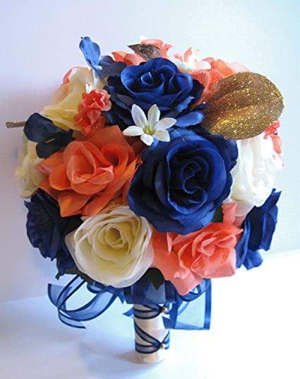 c10edf9b61b18 17 Piece Wedding Bouquet Set Bridal Bouquet Package Coral Navy Blue Gold  Silk Wedding Flowers Corsage