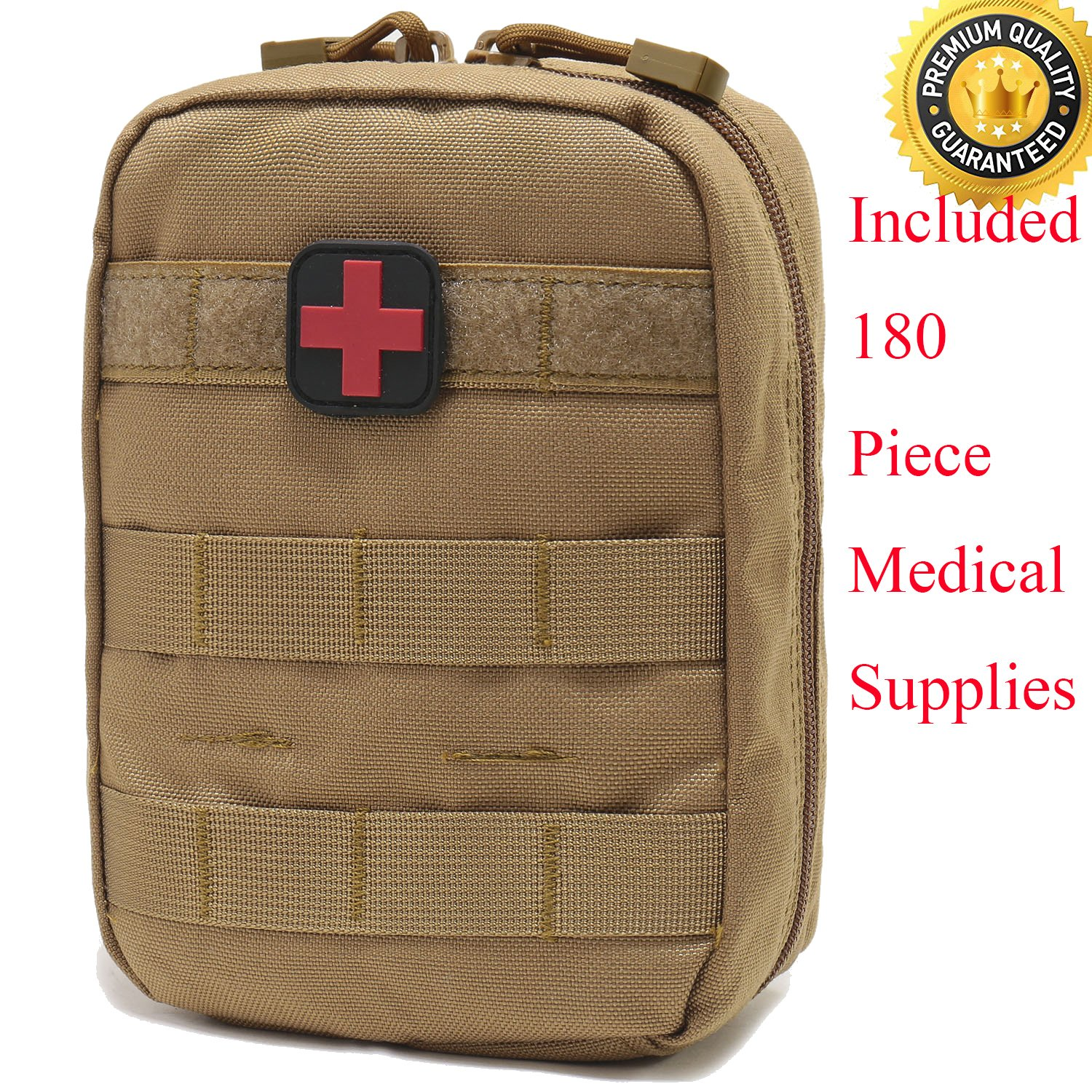 Carlebben EMT Pouch MOLLE Ifak Pouch Tactical MOLLE Medical First Aid Kit Utility Pouch (with Medical Supplies Tan)