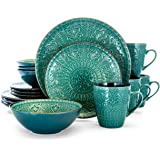 Elama Round Stoneware Embossed Dinnerware Dish Set, 16 Piece, Ocean Teal and Green
