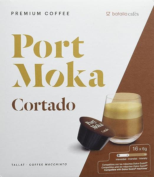 Port Moka Cápsulas de Café Cortado Compatibles Sistema Dolce Gusto - 4 Paquete de 16 Unidades