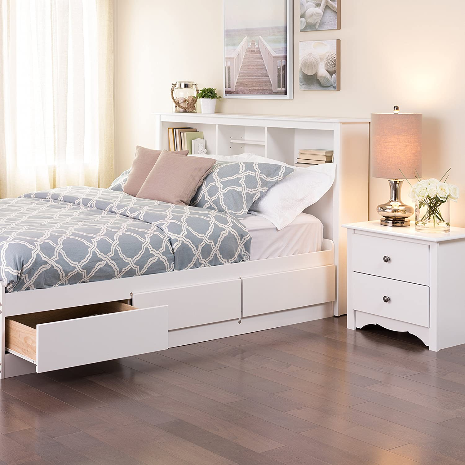Be bed frames with headboard storage - Amazon Com Prepac Monterey White Queen Storage Headboard Bedroom Armoires