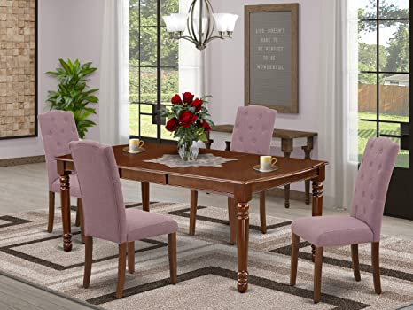 Amazon Com East West Furniture Doce5 Mah 10 5 Pieces Dining Table Set Dahlia Linen Fabric Button Tufted Kitchen Parson Chairs Mahogany Finish Solid Wood 4 Legs Butterfly Leaf Rectangular Dining Room Table Furniture