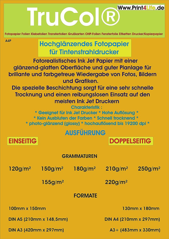 50 hojas de 10x15 Glossy Photo Paper Glossy 210g / m²; , Papel unidireccional alto brillo de color blanco brillante y brillante para las impresiones ...
