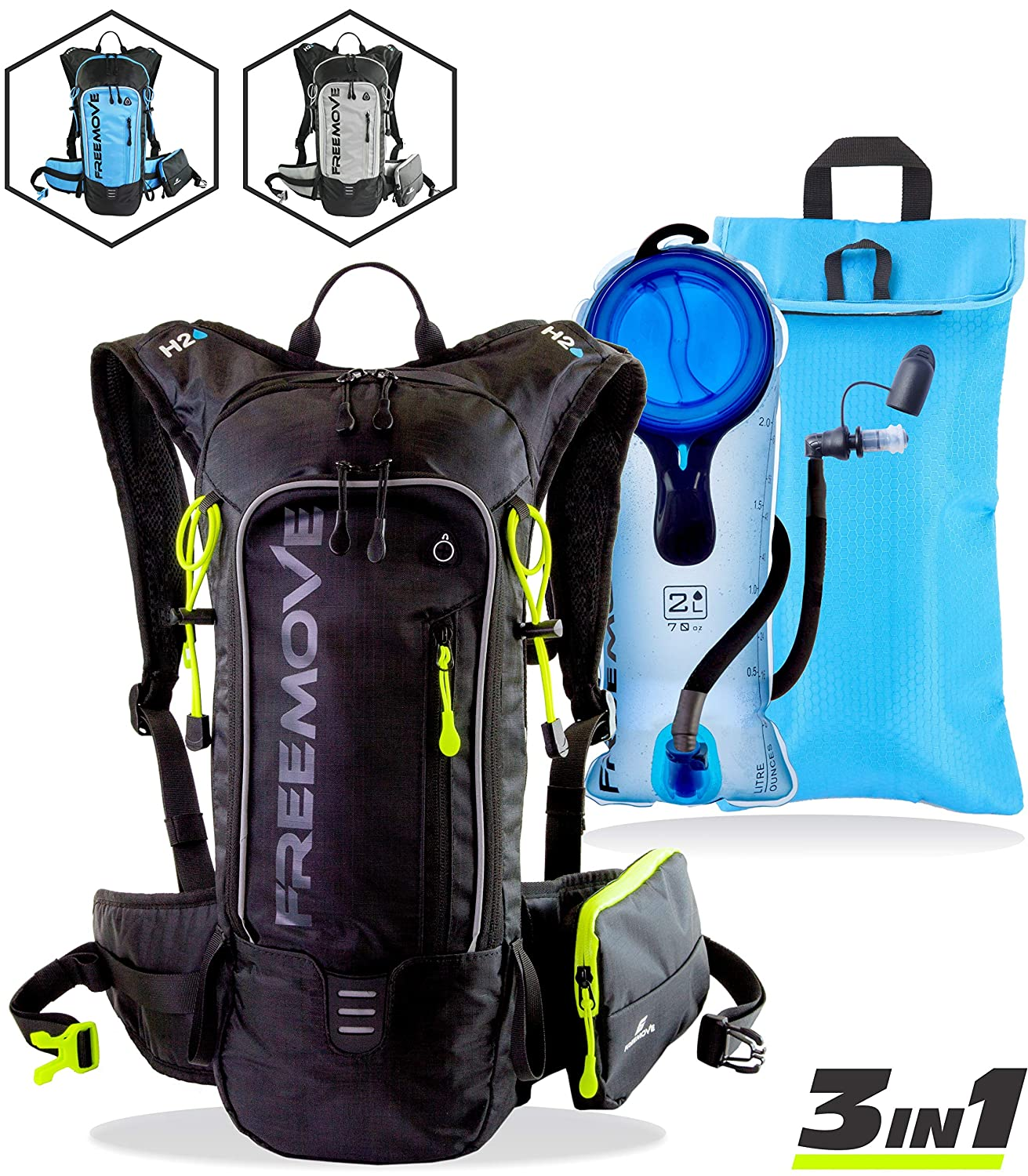 FREEMOVE Hydration Pack Backpack with 2L Water Bladder