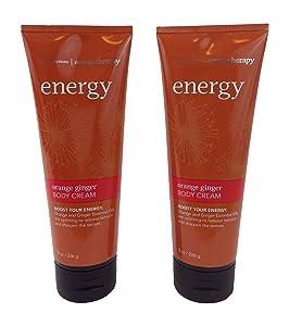 Bath & Body Works Aromatherapy Energy Orange Ginger Body Cream 8.0 oz, 226g (2 Pack)