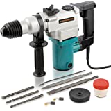 """Hiltex 10504 1"""" Electric Rotary Hammer Drill, 4.7 Amp   Includes 2 Chisels, 3 Drill Bits   900 RPM, 3150 BPM"""