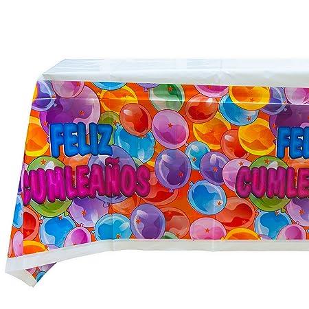 EuroFiestas Mantel Feliz cumpleaños 180x120cm.: Amazon.es: Hogar