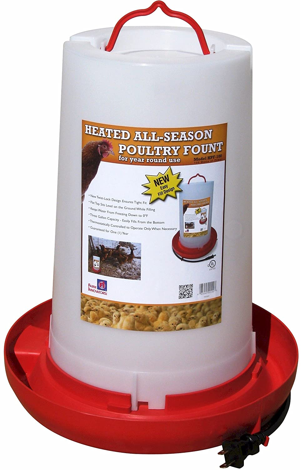 Farm Innovators Model HPF-100 All-Seasons Heated Plastic Poultry Fountain, 3 Gallon, 100-Watt