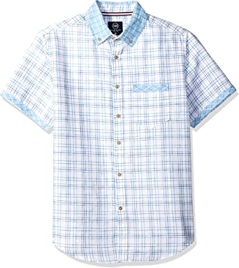 Badger Smith Mens Cotton Poplin Print Slim Fit Button Down Shirt