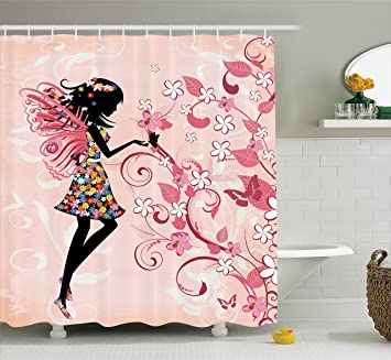 Incroyable Girls Shower Curtain Fairy Decor By Ambesonne, Pink Butterflies And Flowers  Beautiful Glamour Girl With