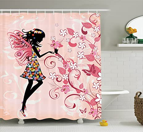Girls Shower Curtain Fairy Decor By Ambesonne, Pink Butterflies And Flowers  Beautiful Glamour Girl With