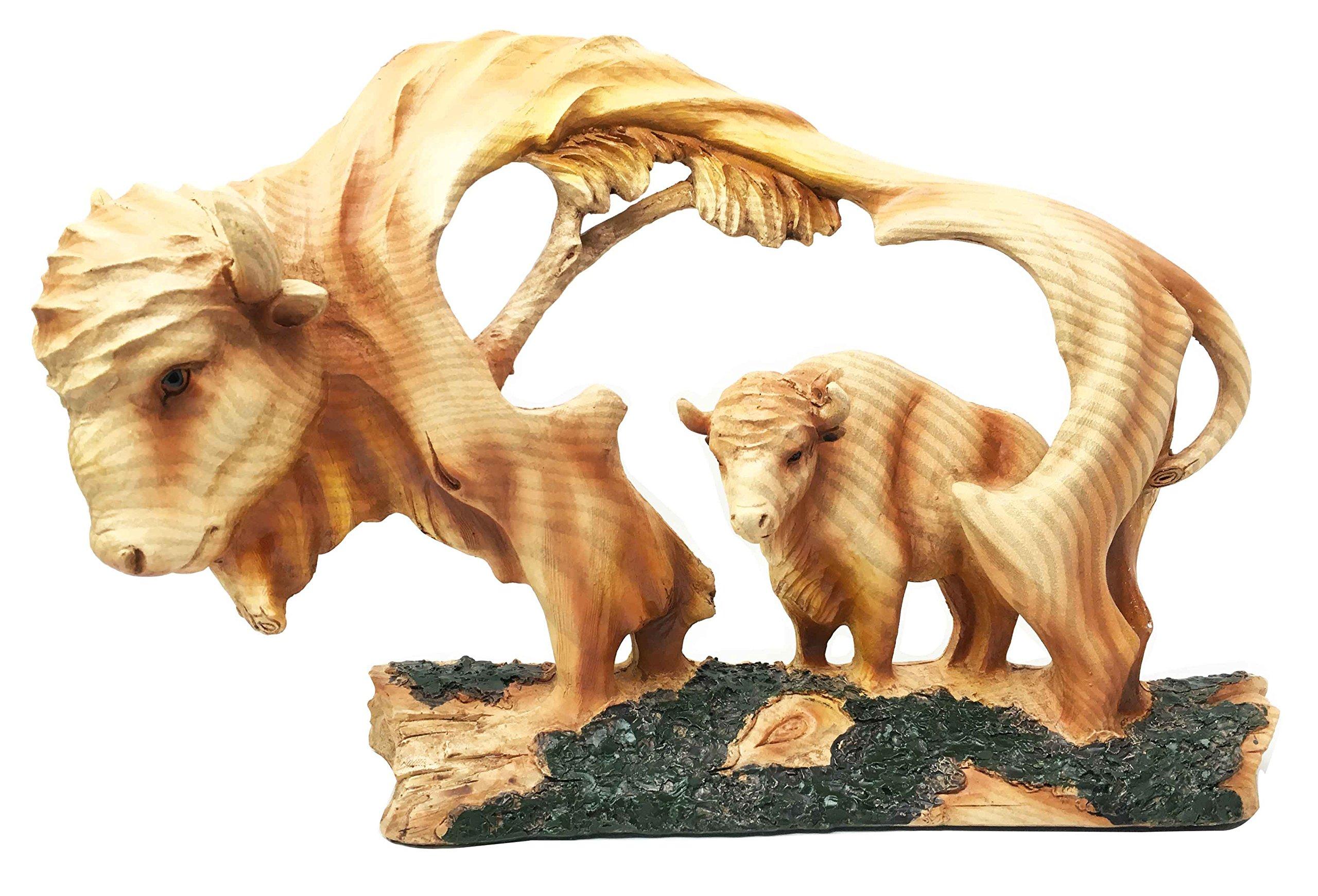 Rustic Grassland American Bison Buffalo Wildlife Scene Figurine Faux Wood Statue