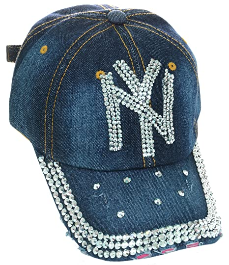 New York NY Rhinestone Studded Frayed Blue Denim Bling Baseball Cap ... e993a698903