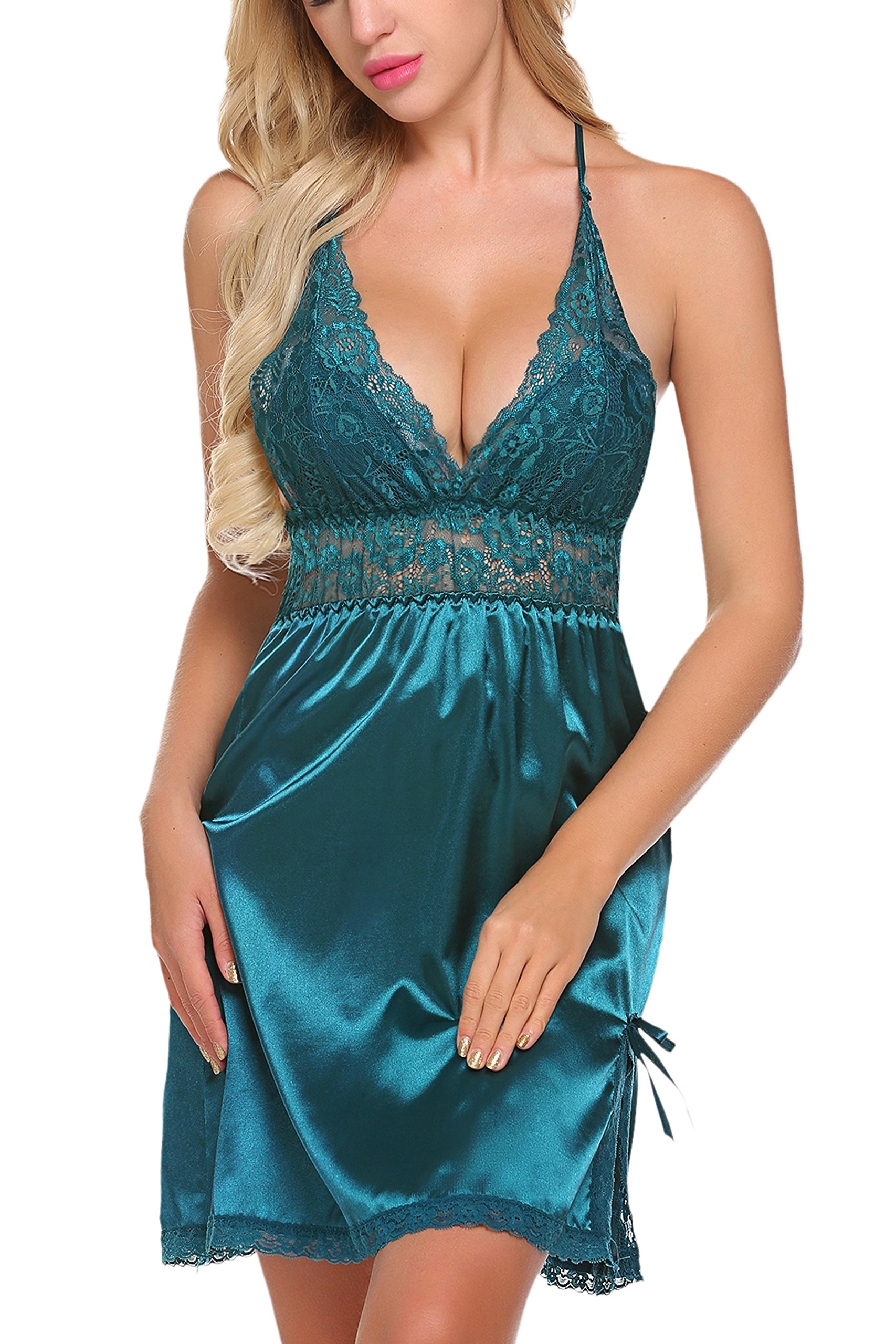 ADOME Women Lingerie Lace Babydoll Chemises V Neck Nightwear Satin Sleepwear Slips, Style 1-dark Green, Large by ADOME