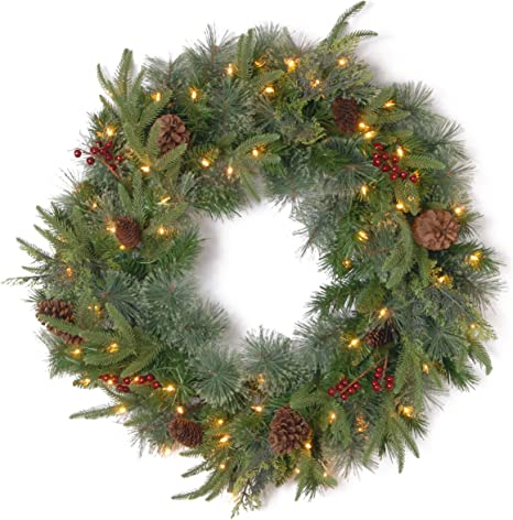 National Tree Company Feel Real Pre Lit Artificial Christmas Wreath Flocked With Mixed Decorations And Pre Strung Led Lights Colonial 24 Inch Home Kitchen