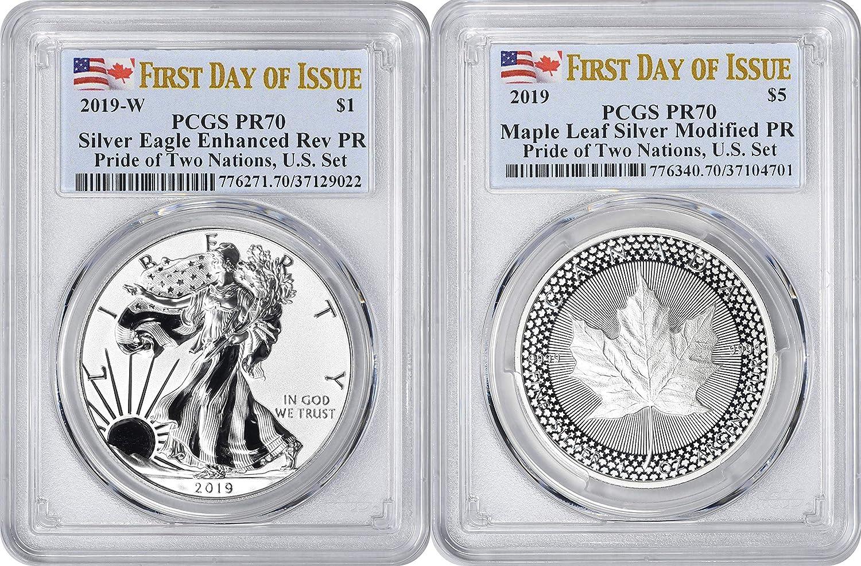 2019 1 oz Modified Proof Silver Maple PCGS PF 70 FDOI Pride of Two Nations