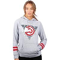 UNK NBA Women's Fleece Hoodie Pullover Sweatshirt Varsity Stripe, Team Logo Gray