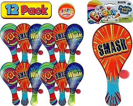 Amazon.com: Ja-Ru Rainbow Paddle bola (varios colores ...